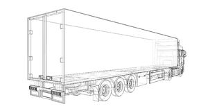 Large truck with a semitrailer. Template for placing graphics. 3d rendering. Large truck with a semitrailer. Template for placing graphics. 3d rendering Royalty Free Stock Photos