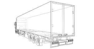Large truck with a semitrailer. Template for placing graphics. 3d rendering. Large truck with a semitrailer. Template for placing graphics. 3d rendering Stock Images