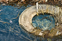 Large truck tire dumped. In the water royalty free stock image
