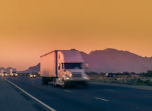 Large truck traveling through Arizona Royalty Free Stock Image