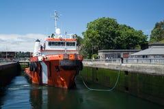 Large tugboat firefighting ship at Ballard Locks Royalty Free Stock Photos