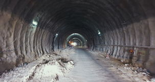 Large Tunnel construction site stock video footage