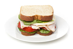A large turkey sandwhich Royalty Free Stock Images