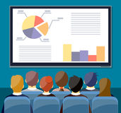 Large tv screen with chart pie do presentation t. O other business people. Training staff, meeting, report, business school. vector illustration in flat style Stock Photo