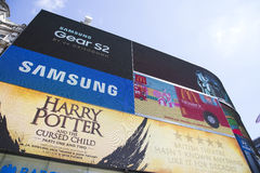 Large TV screen in piccadilly circus showing adverts Royalty Free Stock Photography