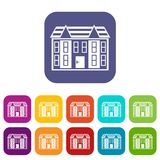 Large two-storey house icons set. Vector illustration in flat style in colors red, blue, green, and other Royalty Free Stock Images