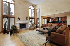 Large two story family room Royalty Free Stock Photos