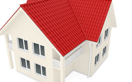 Large two-story house with red roof. 3d render Stock Photos