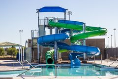 Swimming Pool With Tube Slides royalty free stock photography