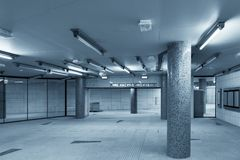 Large underground interior in a city Royalty Free Stock Images