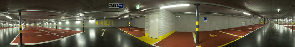 Large underground parking Royalty Free Stock Photography