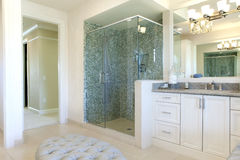 Large Upscale Master Bathroom. With glass shower, hot tub and lots of marble tile Royalty Free Stock Images