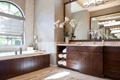 Large Upscale Master Bathroom Royalty Free Stock Photo