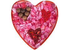 Large Valentine Heart of Pink Rose Petals Stock Photography