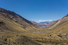 Big valley in the andes with clear sky stock photo