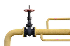 Large valve for shutting off the gas pipe.  stock image