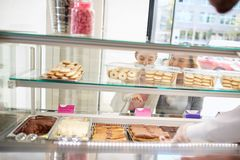 Large variety of sweets in bakery store royalty free stock images