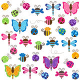 Large Vector Collection of Patchwork and Baby Shower Themed Bugs. With stitching Royalty Free Stock Photos