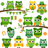 Large Vector Collection of St Patrick's Day Themed Owls Royalty Free Stock Photography