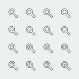 Large vector magnifying glass icons Royalty Free Stock Images