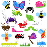 Large Vector Set of Cute Cartoon Bugs. And Insects Royalty Free Stock Image