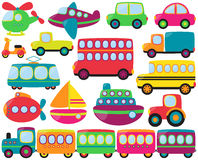 Large Vector Set of Cute Transportation Vehicles Royalty Free Stock Image