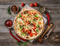 Free Large Vegeterian Pizza With Sauces And Pepper Royalty Free Stock Image - 93326646