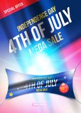 Large vertical poster Celebrate Happy 4th of July - Independence Day. Mega sale with sticker 50 off. National American. Holiday event. Vector illustration EPS10 vector illustration
