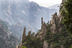 Large Vertical Rocks in Yellow Mountain Valley Royalty Free Stock Images