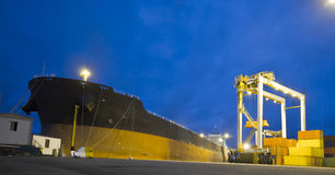 Large vessel moored in port Stock Photos