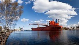 Large vessel in shipyard Stock Photo