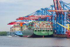 Large vessels at Burchardkai container terminal, Hamburg Stock Images