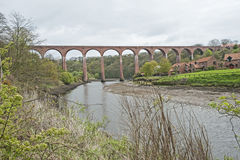 Large viaduct over river Stock Photo