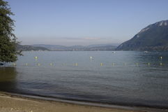 Large view of Annecy lake and mountains Royalty Free Stock Photos