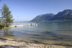 Large view of Annecy lake and mountains Stock Image
