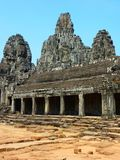 Large view of Bayon temple at Angkor Thom in Cambodia Royalty Free Stock Photography