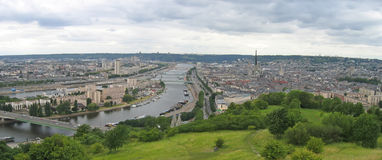 Large view on the city. Rouen - France - Panorama Stock Images