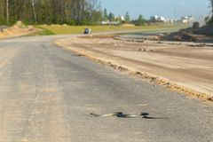 Dangerous snake on the new road construction site. Large view on the dangerous snake on the new road construction site stock images
