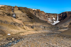 Large view of Hengifoss Iceland royalty free stock image