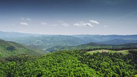 Large view at the high mountains. Spring shot stock footage
