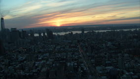 Large view of nyc with sunset. Video of large view of nyc with sunset stock video
