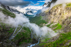 Large view over Trollstigen. Dramatic landscape view over Trollstigen the famous road in Norway Royalty Free Stock Images
