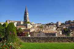 Large view on Saint Emilion. Saint-Emilion is one of the principal red wine areas of Bordeaux, the wines of Saint-Emilion are respected all over the planet royalty free stock image