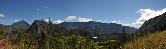Large View of Salazie Cirque of Reunion Island Stock Photography