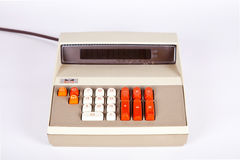 Large Vintage Calculator. With Orange Buttons Royalty Free Stock Image