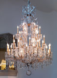 Large vintage crystal chandelier lamp Royalty Free Stock Images