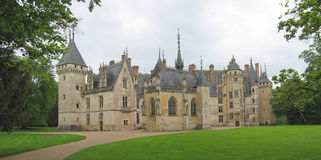 Large vista of a french castle. Meilland castle - France - Panorama Royalty Free Stock Photography