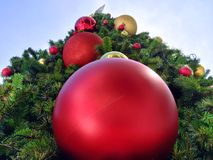 Large Vivid Decorative Balls on Christmas Tree. Large Vivid Red and Yellow Decorative Balls on Christmas Tree Viewed from Bottom Royalty Free Stock Image