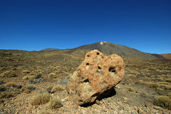 Large volcanic stones in Tenerife. View from the Roques de García on the volcano Teide Stock Photo