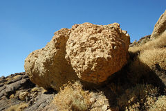 Large volcanic stones in Tenerife. View from the Roques de García on the volcano Teide Stock Photography